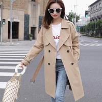 Small windbreaker female long section 2019 spring loaded new Korean version of the loose temperament popular spring and autumn coat large size