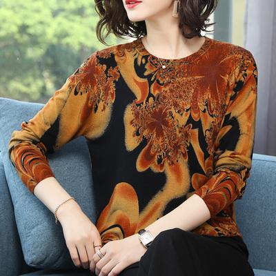 产自鄂尔多斯羊绒衫女式2018秋冬装中年女长袖针织衫薄款印花毛衣