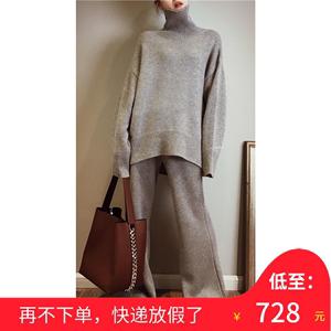 高端定制廓形高领羊绒衫女阔腿裤羊绒套装宽松慵懒加厚毛衣两件套