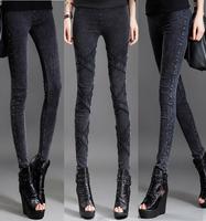 2018秋冬新款仿牛仔小脚裤女黑色高腰薄款显瘦弹力紧身外穿打底裤