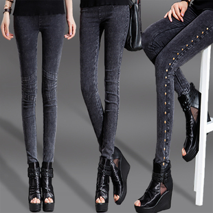 春季薄款大码仿牛仔女裤长裤弹力修身显瘦小脚铅笔裤外穿打底裤女