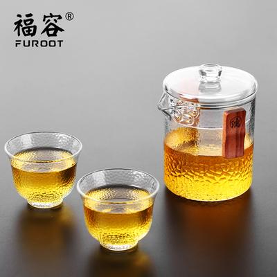 福容花草茶具加厚耐热双耳泡茶壶绿茶冲泡器日式玻璃茶壶配杯套装
