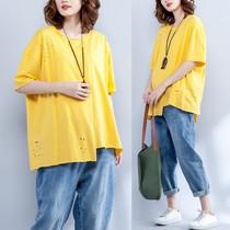 200斤胖mm夏季女装新款加肥加大码宽松短袖韩版T恤衫时尚减龄上衣