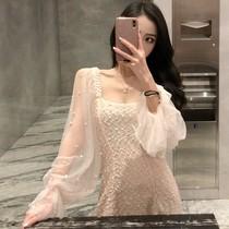 2019春装新款网纱拼接中长款裙子钉珠泡泡袖收腰A字连衣裙女装