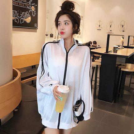 2019春装新款韩版中长款网眼薄款防晒上衣宽松运动棒球服外套女装