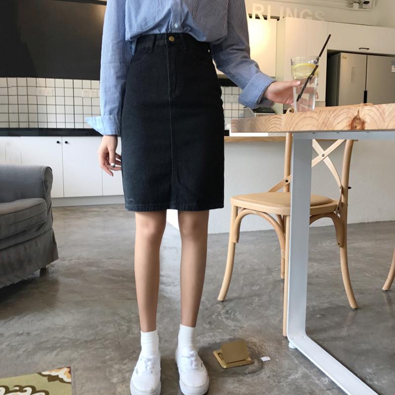 纯色女牛仔裙
