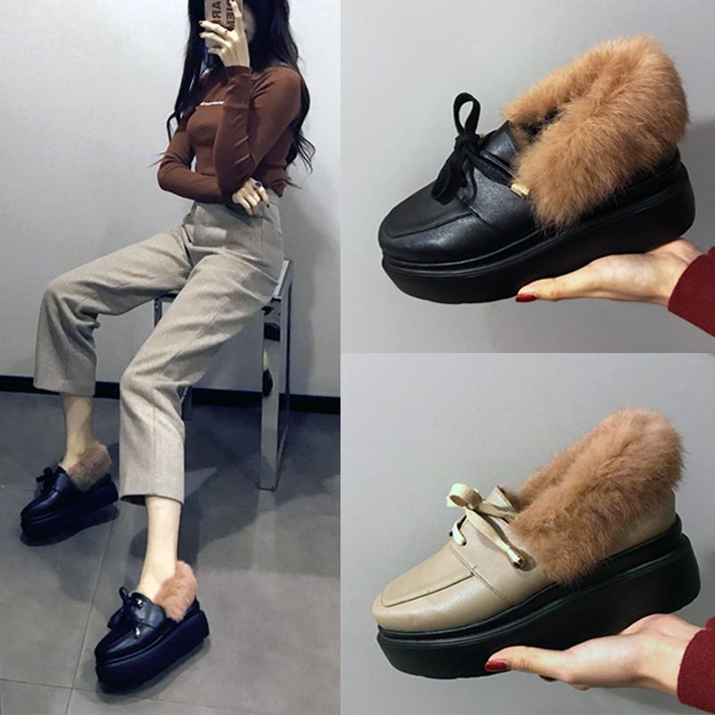 毛毛鞋女外穿松糕鞋厚底英伦 加绒保暖坡跟豆豆鞋女