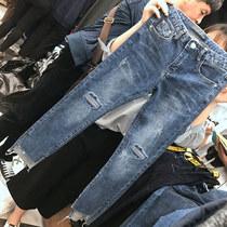 胖妹妹夏装200斤大码女胖mm新款裤子弹力破洞高腰牛仔裤女九分裤