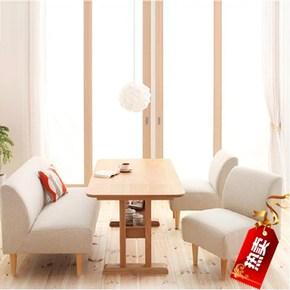 现代简约布艺无扶手小户型酒吧餐馆咖啡厅卡座窄沙发实木桌椅组合