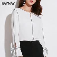 衬衫女长袖2018秋装新款韩版女装宽松显瘦喇叭袖系带套头雪纺上衣