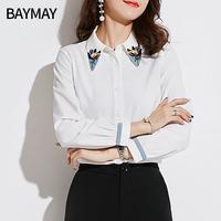 衬衫女长袖2018秋装新款韩版女装宽松显瘦时尚气质灯笼袖上衣小衫