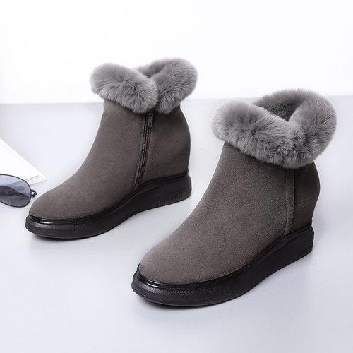 断码清仓处理内增高短靴女圆头冬季坡跟厚底翻毛皮女鞋真皮女靴