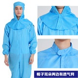 Dust-free clothes one-piece clothes without cap electrostatic clothes clean dustproof food protection blue and white removable cap work clothes