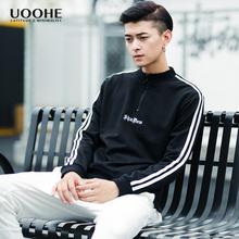 UOOHE个性青年运动潮牌卫衣男春季新款学生时尚刺绣套头长袖外套