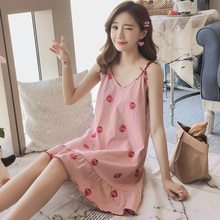Sleeping Skirt Female Summer Sexy Lovely Princess Modal Sleepwear Korean Edition Fresh Student Loose Ice Silk Home Clothing