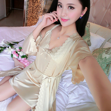 Sleepwear Female Summer Sleeping Skirt Silk Two-piece Sleeping Skirt Lace Spring and Autumn Sexy Sleepwear Ice Silk Loose Home Clothing