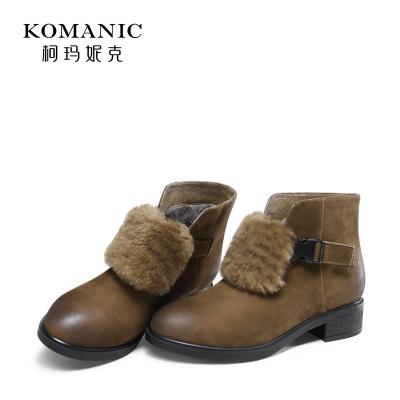 柯玛妮克 冬季磨砂牛皮羊毛饰女鞋 圆头粗跟靴加绒中跟短靴女