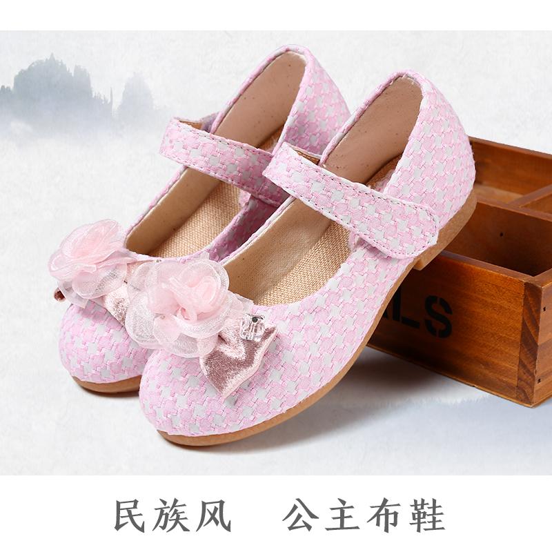 汉服鞋子童鞋女民族风帆布鞋女童公主鞋软底室内鞋老北京手工布鞋