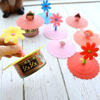 Full amount of cats and dogs silicone universal can lid fresh sealing cover anti-smoke can make cup lid cat can lid
