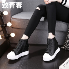 RO High-Upper Shoes In Fall Leisure Fashion, 2019 Increased 8 cm Thick-soled Slope-heel Zipper-laced Muffin Shoes for Women