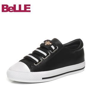Belle/百丽春夏专柜同款牛皮女松紧带休闲单鞋R6C1DCM7