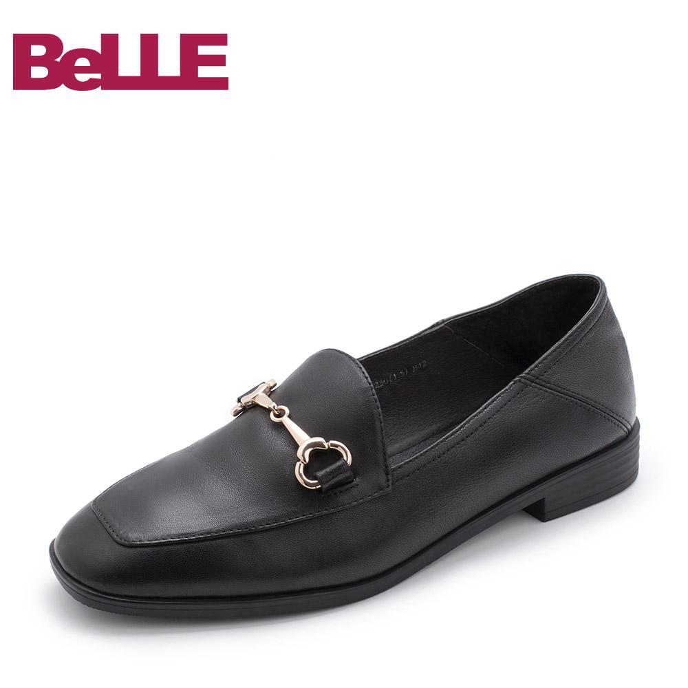 BLNA1AM7 百丽专柜同款英伦风乐福鞋羊皮马衔扣女单鞋 Belle