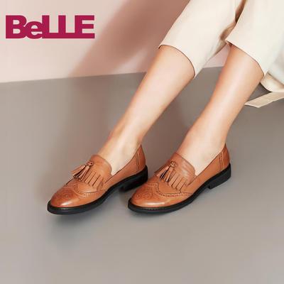 百丽雕花鞋2018秋新款羊皮流苏中跟休闲女单鞋11885CM8
