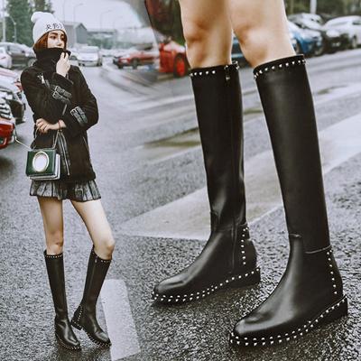 2018冬季新款真皮平底长靴女不过膝小个子欧美铆钉及膝靴高筒靴子