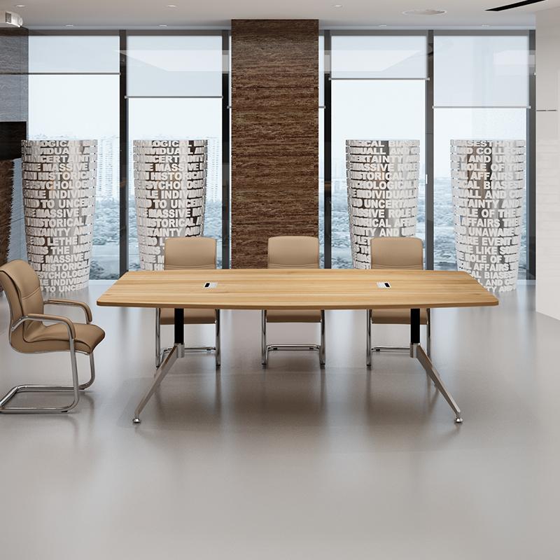 106-人会议桌简约现代会客接待室公司开会小型电脑钢木小家具办公