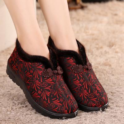 老北京布鞋老人棉鞋女冬季加绒平跟中老年妈妈老年人鞋子奶奶鞋厚