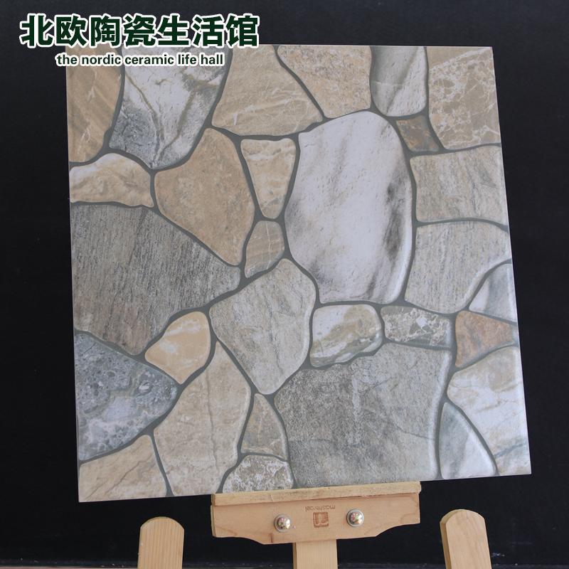 田园阳台地砖400x400仿鹅卵石瓷砖户外防滑耐磨凹凸砖花园露台砖