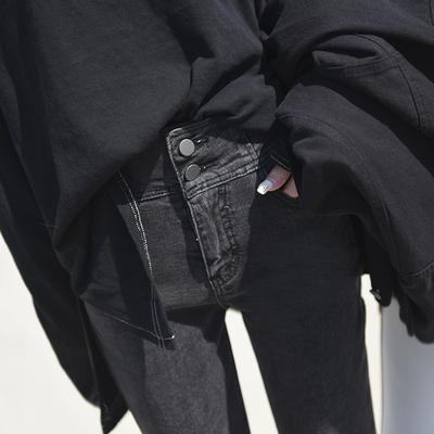 2018秋冬新款灰色高腰加绒网红牛仔裤女韩版显瘦紧身九分小脚裤子