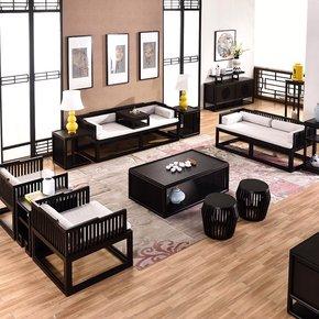 新中式实木沙发水曲柳样板房布艺家具现代中式古典沙发组合定制
