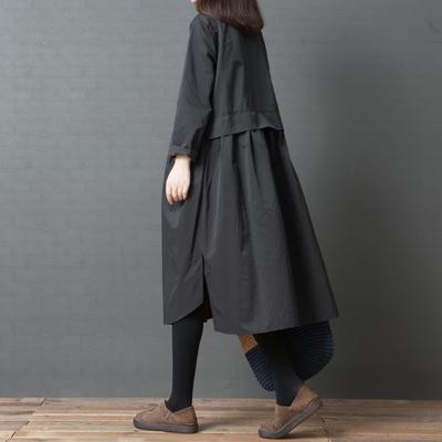 2018秋季女装新款大码韩版文艺宽松显瘦中长款纯色长袖衬衫连衣裙