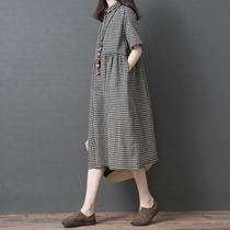2019夏季新款韩版宽松大码女装时尚棉麻短袖连衣裙显瘦格子衬衫裙