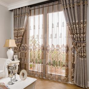 欧式雪尼尔绣花简约现代遮光窗帘布料客厅卧室飘窗落地窗定制xbe