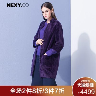 NEXY.CO/奈蔻奢华高贵皮毛一体皮草紫羊皮革外套中长款大衣女