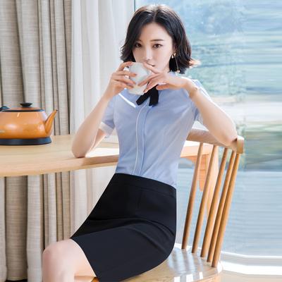 职业装女装套装套裙2018春夏新款短袖女士衬衫修身显瘦影楼工作服