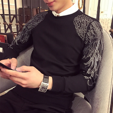 Aplimit 2009 Autumn and Winter Korean Edition Burning Embroidered Wings Men's Defense Clothes, Body Modification, Round Neck Chao Brand T-shirt for Men