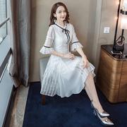 白色雪纺连衣裙女秋装2018新款气质显瘦超仙中长款小清新蕾丝裙子