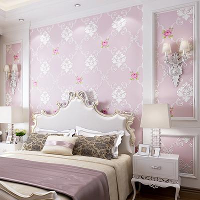 海民无纺布壁纸 粉色温馨田园卧室墙纸欧式3D立体客厅沙发背景墙