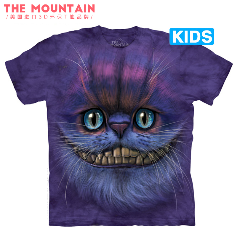 美国The Mountain紫色柴郡猫短袖纯棉夏装男女款短袖亲子印花T恤