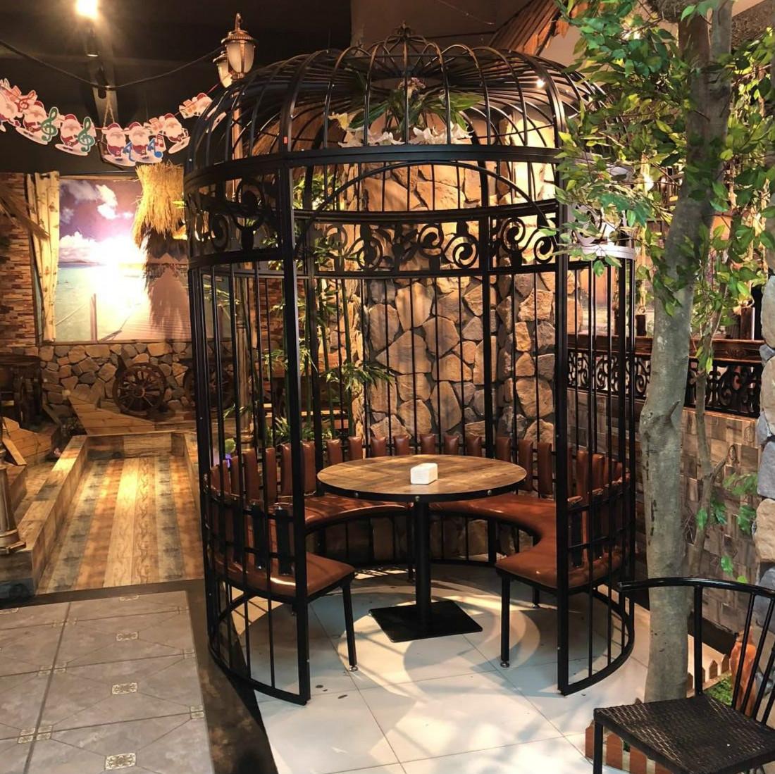 欧式铁艺大型鸟笼定做火锅店西餐厅卡座鸟笼户外大型大号鸟笼摆件