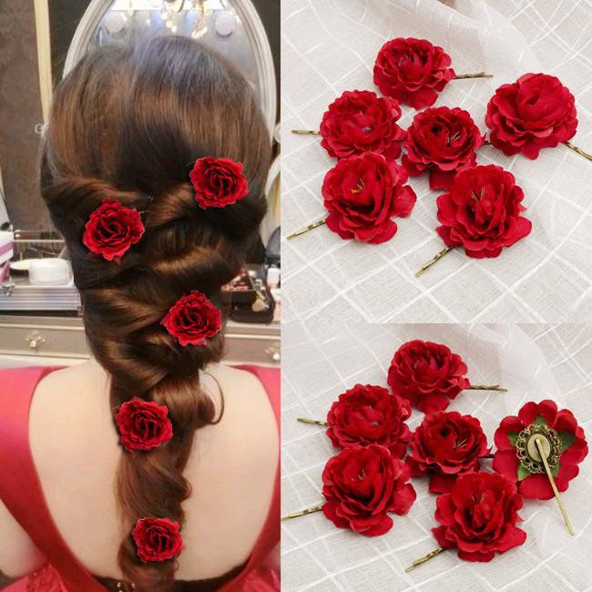 优雅韩式新娘盘发饰品红色头花.
