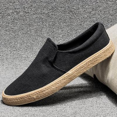 秋季新款帆布鞋男鞋民族风亚麻布鞋男士透气时尚休闲一脚蹬懒人鞋