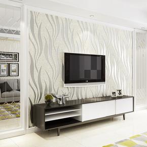 简约现代环保3d立体条纹无纺布壁纸鹿皮绒客厅卧室电视墙背景墙纸