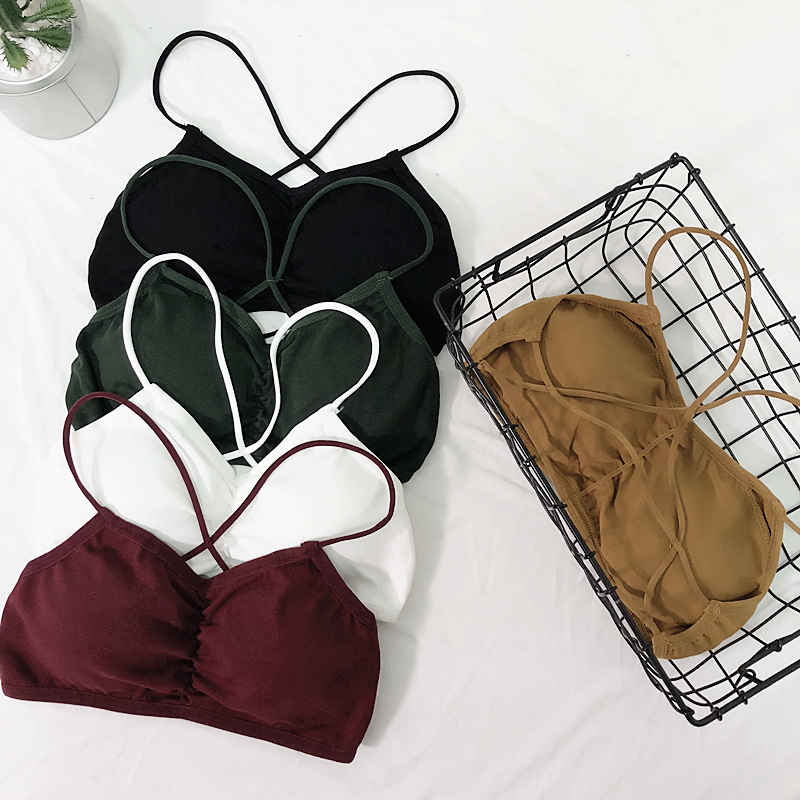 European station summer back cross bra strap chest pad wrapped chest with beautiful back anti-light tube top