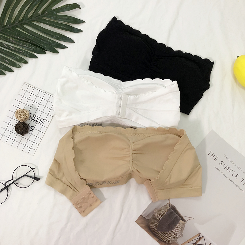 薄款大码无肩带 bra one-piece tube top wrapped chest anti-light short paragraph