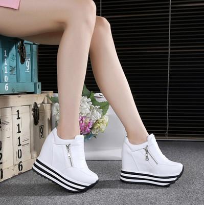 2016春秋单鞋超高12CM女鞋白色厚底双拉链坡跟内增高pu皮鞋松糕鞋