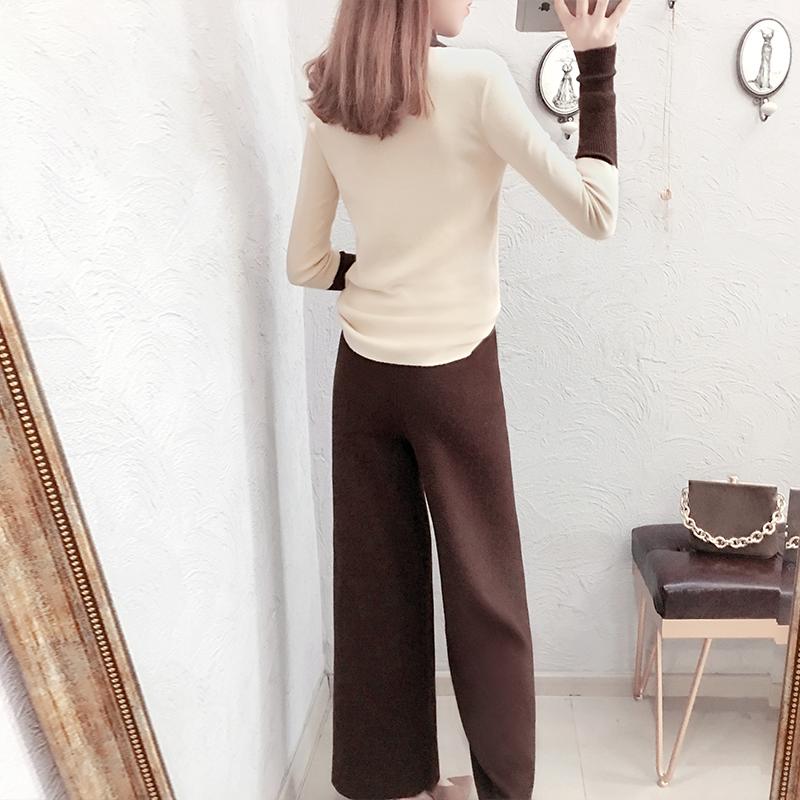 2018秋冬季新款时尚气质针织套装女秋装系带毛衣配阔腿裤子两件套